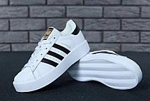 Женские кроссовки Adidas Superstar Bold Platform White/Black, фото 3