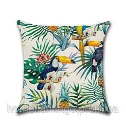 Тропическая декоративная подушка с туканом