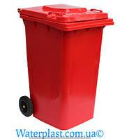Бак для мусора пластиковый 240 л. красного цвета