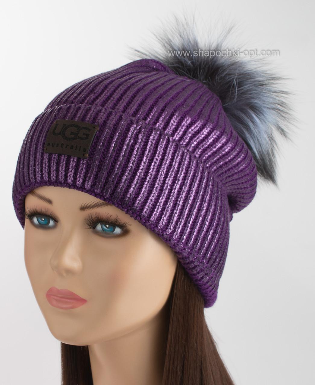 вязаная шапка с помпоном из чернобурки Ugg фиолетовая продажа цена