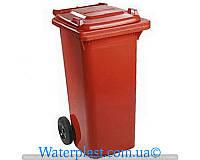 Бак для мусора пластиковый, красный, 120 литров
