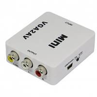 03-00-021. Конвертор VGA в AV (гнездо VGA + гнездо 3,5мм → AV (3 гнезда RCA)), с питанием