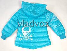 Детская куртка для девочки демисезонная 4-5 лет голубая, фото 2
