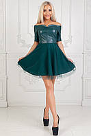 Платье с эко-кожей и отделкой из евросетки. Бутылочный. 4 цвета. Р-ры: 42-44, 44-46.