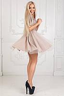 Платье с эко-кожей и отделкой из евросетки. Бежевый. 4 цвета. Р-ры: 42-44, 44-46.