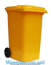 Бак для мусора пластиковый 240 л. Желтого цвета