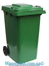 Бак для мусора пластиковый 240 л. Зеленого цвета