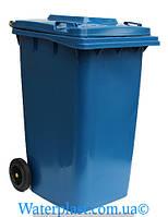 Бак для мусора пластиковый 240 л. Синего цвета