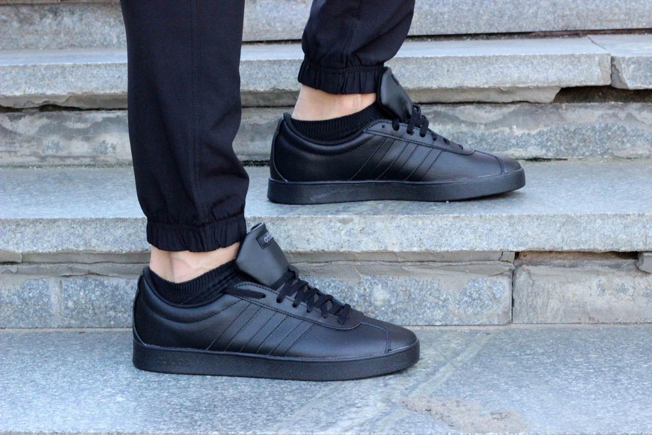 5460b6ff610 Купить Фирменные черные кожаные кроссовки Adidas VL Court 2.0 41