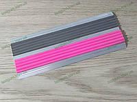 Алюминиевый противоскользящий порожек двойной с резиновой вставкой розового цвета