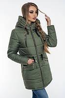 Красивая зимняя куртка-парка Эстель хаки (42-52)