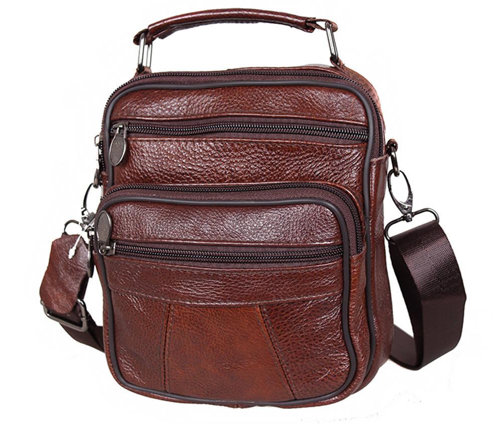 Мужская кожаная сумка Dovhani Bon101-3LCoffee Коричневая