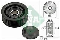 Ролик приводного ремня (паразитный, INA 532 0160 10, 26.4x69-6PK, 2.5-3.6) SsangYong(Санг Йонг)/Daewoo(Дэу) Musso(Муссо) 1993-2005(93-05)