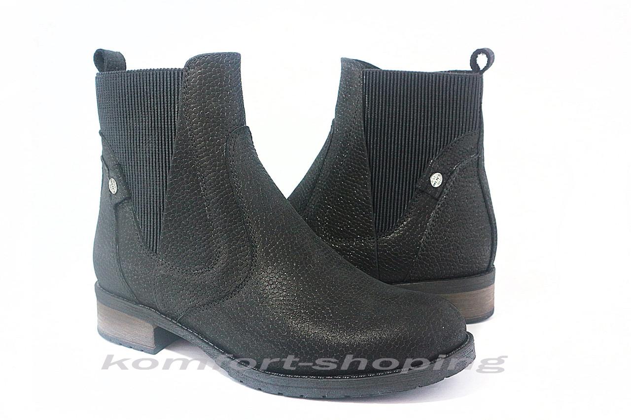 Ботинки женские кожаные черные с блеском, на змейке V 1204