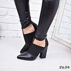 """Ботильоны женские на каблуке, черные """"Zaury"""" эко кожа, повседневная обувь, ботинки женские, фото 2"""