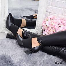 """Ботильоны женские на каблуке, черные """"Zaury"""" эко кожа, повседневная обувь, ботинки женские, фото 3"""