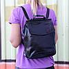 """Жіночий шкіряний рюкзак-сумка(трансформер) """"Анжеліка Black Glossy"""""""