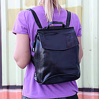 """Женский кожаный рюкзак-сумка(трансформер) """"Анжелика Black Glossy"""""""