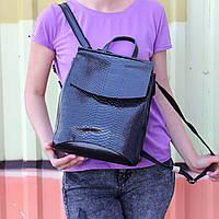 """Кожаный рюкзак-сумка (трансформер) с теснением под змеиную кожу """"Питон Black"""", фото 1"""