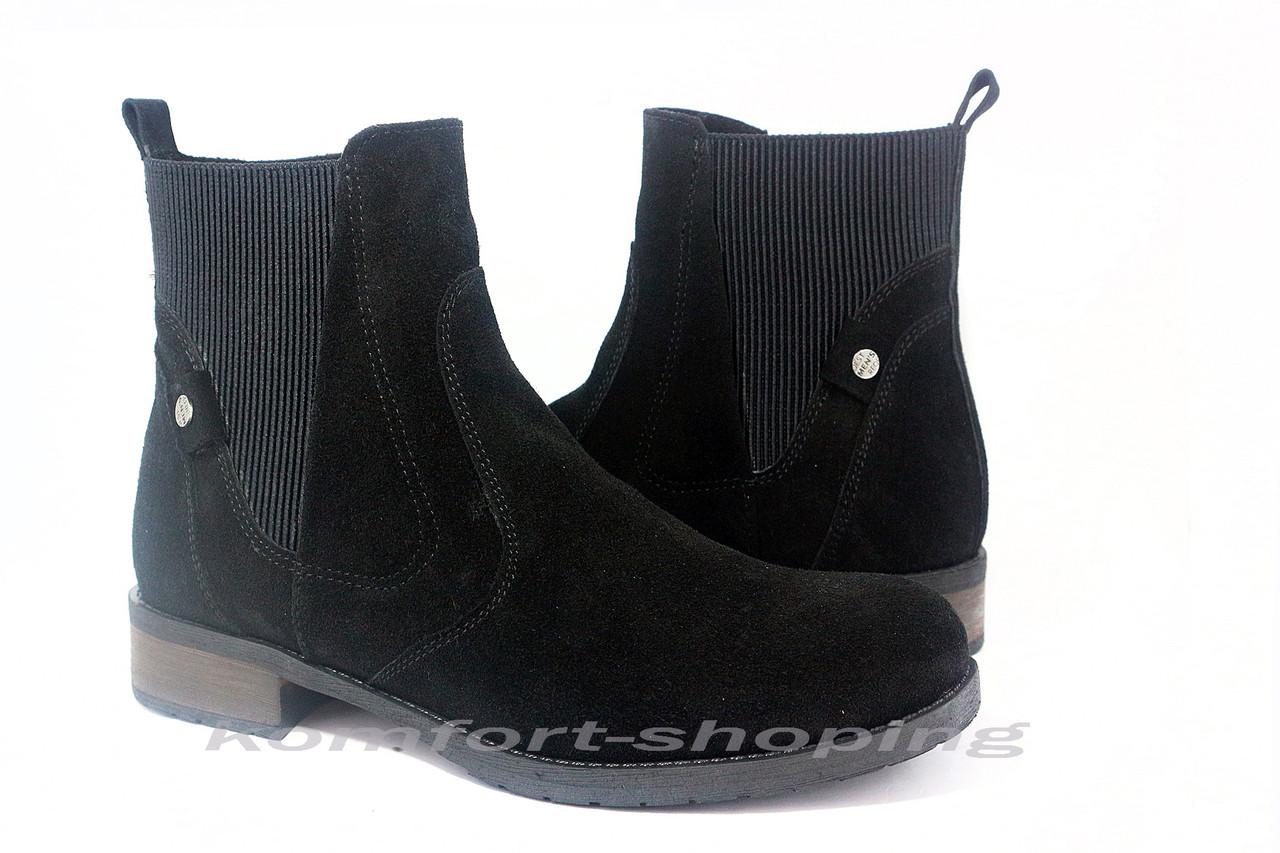 Ботинки женские замшевые черные, на змейке V 1204