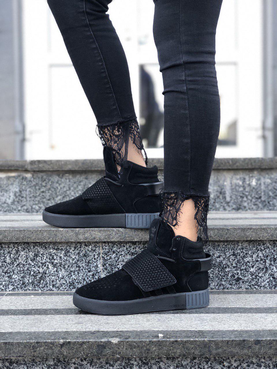 5fe3a568e Женские замшевые весенние кроссовки Adidas Tubular черные(Реплика ...