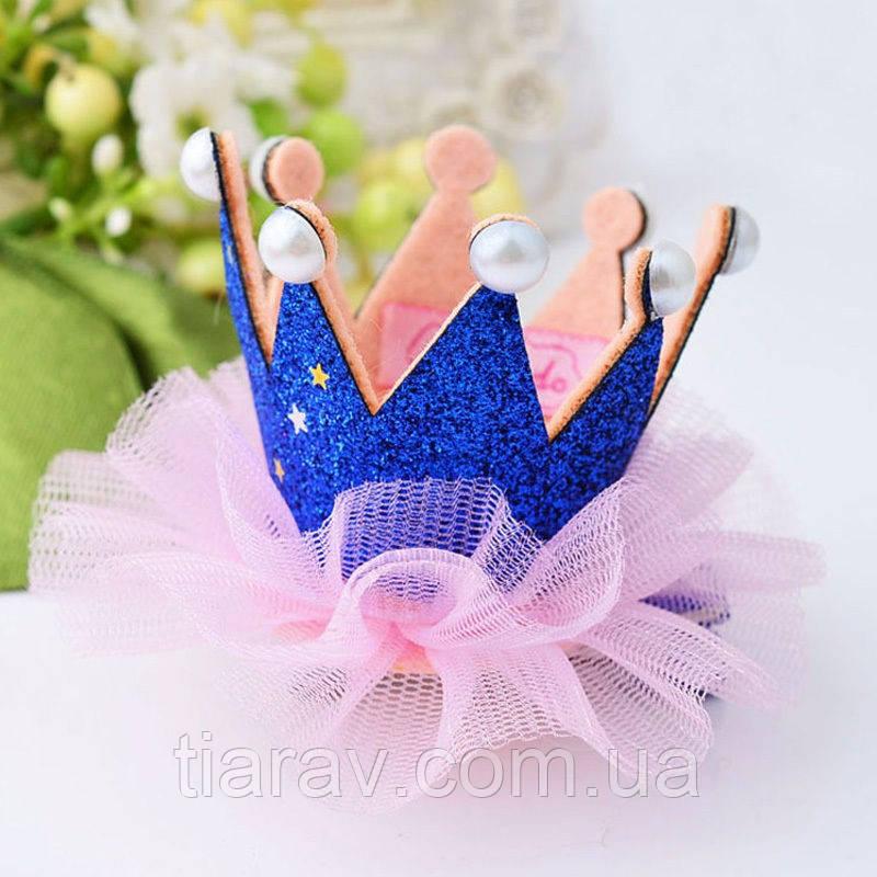 Корона детская ДЖЕССИКА корона на заколке для волос синяя