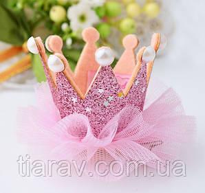 Корона детская ДЖЕССИКА корона на заколке для волос розовая