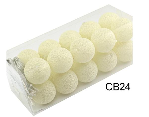 Гирлянды декоративные Cotton Balls 20led, диам 6см, длина 330см на батарейках АА
