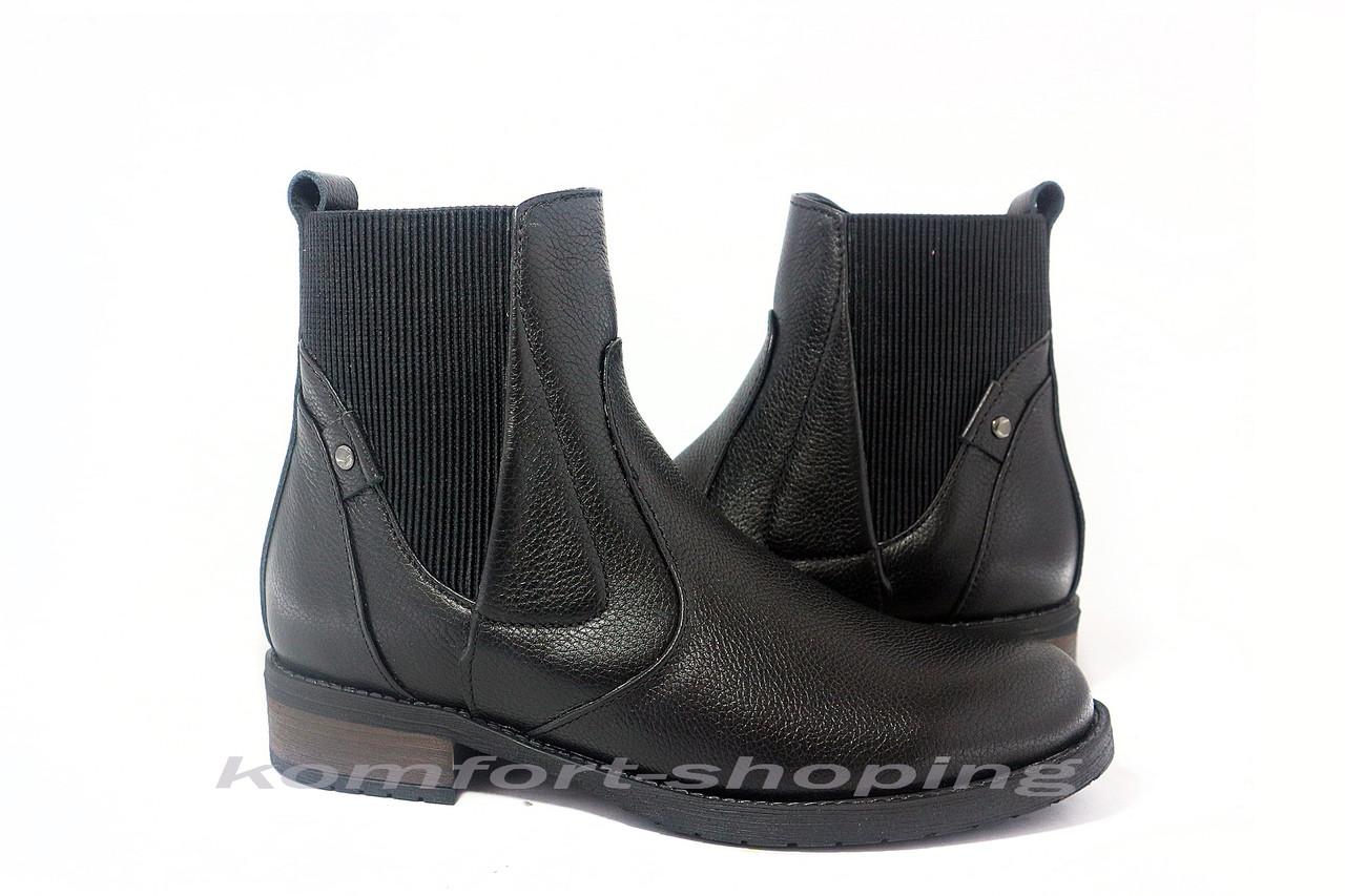 Ботинки женские черные кожаные,  на змейке V 1204