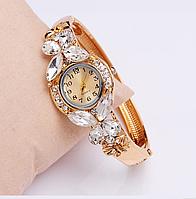 Женские часы / браслет Geneva бабочки белые камни