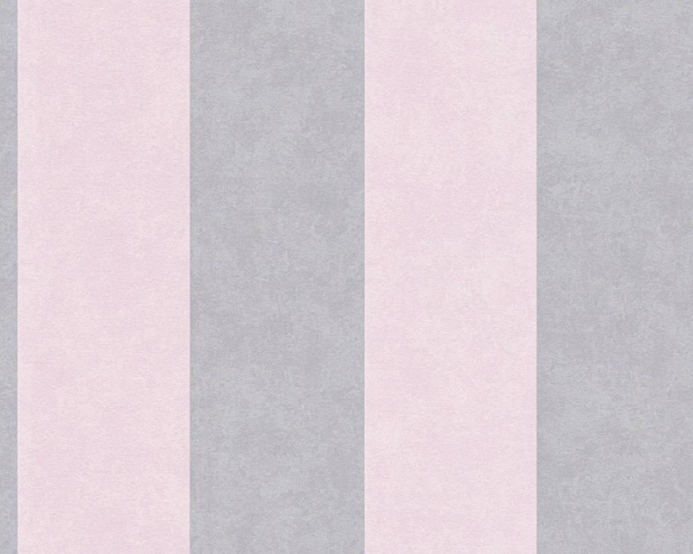 Обои с широкой серой и розовой полоской 329093.
