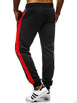 Мужские спортивные штаны J. Style с красными лампасами черные, фото 3