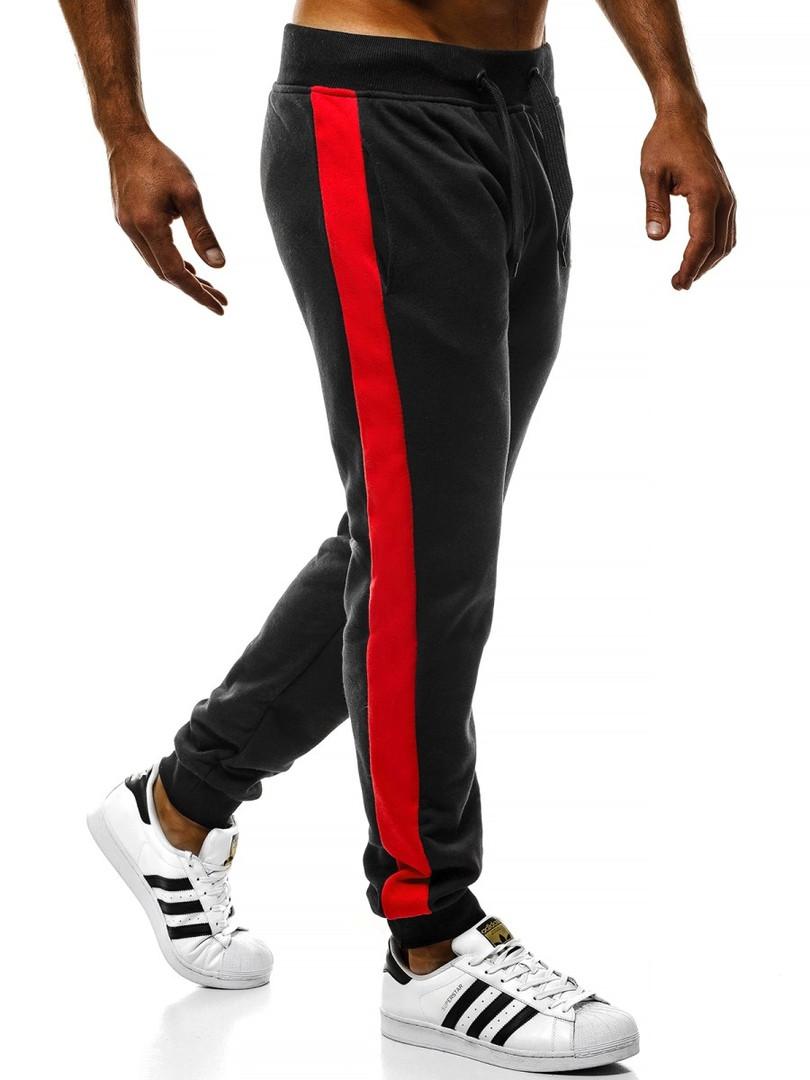 Мужские спортивные штаны J. Style с красными лампасами черные