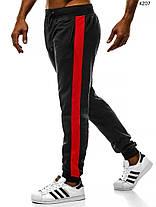 Мужские спортивные штаны J. Style с красными лампасами черные, фото 2