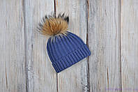 """Вязаная шапочка """"Pumpkin"""", синяя, фото 1"""