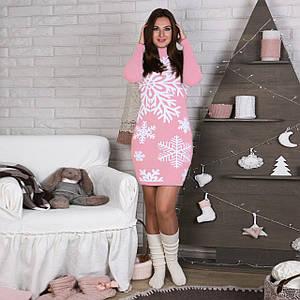 Вязаное женские платье Снежинка розовое с белым