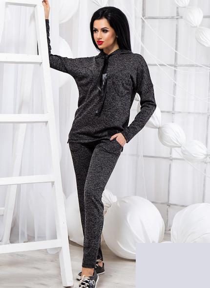 Женский спортивный костюм с капюшоном серый 818782