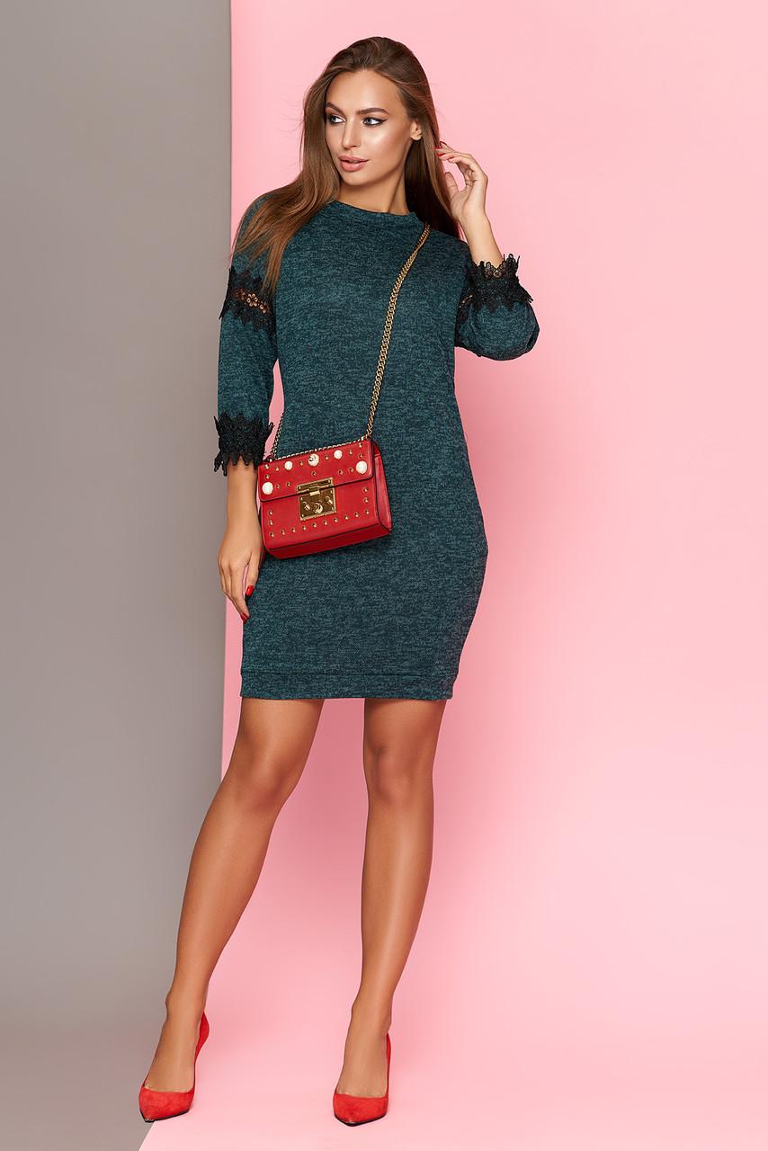 Женское трикотажное платье с кружевом, цвет бутылка, размеры от 44 до 50 -  Интернет e60fe9236c6