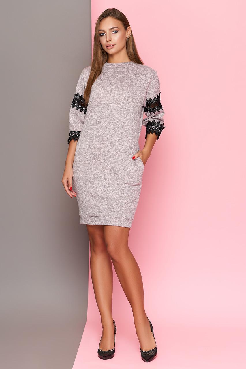 Женское Трикотажное Платье с Кружевом, Розовое, Размеры от 44 до 50 ... d7e97b29a10
