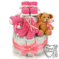 Торт з підгузників. Торт з памперсів, пінетки, шкарпетки, брязкальце, іграшка, 0 - 2 місяці, рожевий