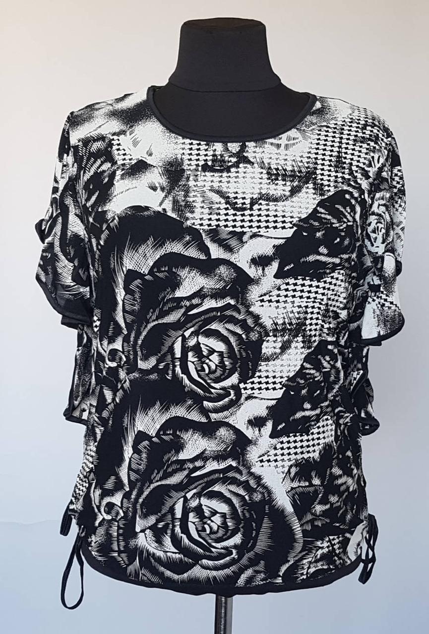 Чёрно-белая женская тонкая блузка «Роза» оригинального кроя