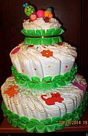 Подарок для ребёнка и его мамы - торт из памперсов (подгузников)