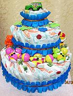 Подарок для девочки - торт из памперсов (подгузников)