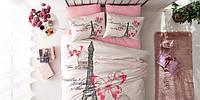 Постельное белье TAC ранфорс Giselle розовый евро размера.