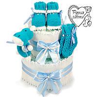 Торт з підгузників. Торт з памперсів, пінетки, шкарпетки, брязкальце. 0 - 2 місяці, морська хвиля