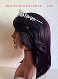 Свадебная диадема,  корона под серебро, тиара, высота 4 см., фото 4