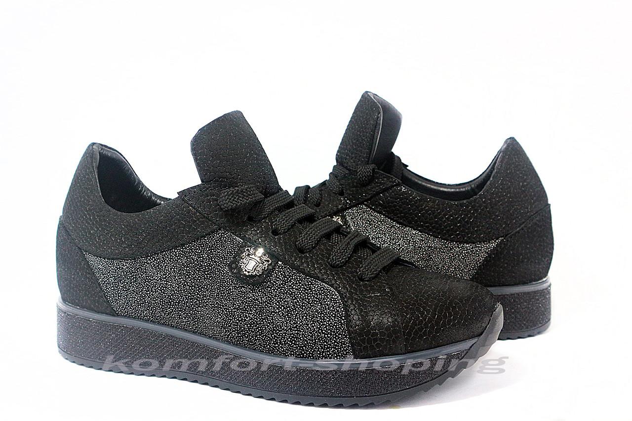 Женские кожаные кроссовки на шнуровке , черный флотар + мелкое серебро V 1205/1