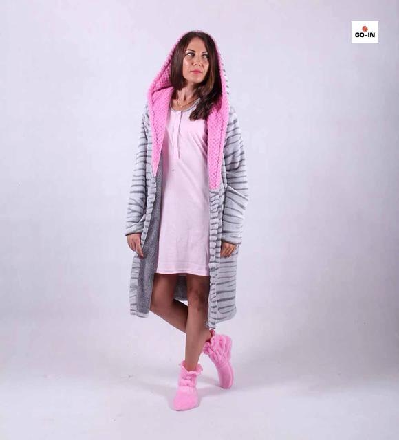 """Женский комплект махровый халат с капюшоном и ночная р.42-50 """" Марго"""""""