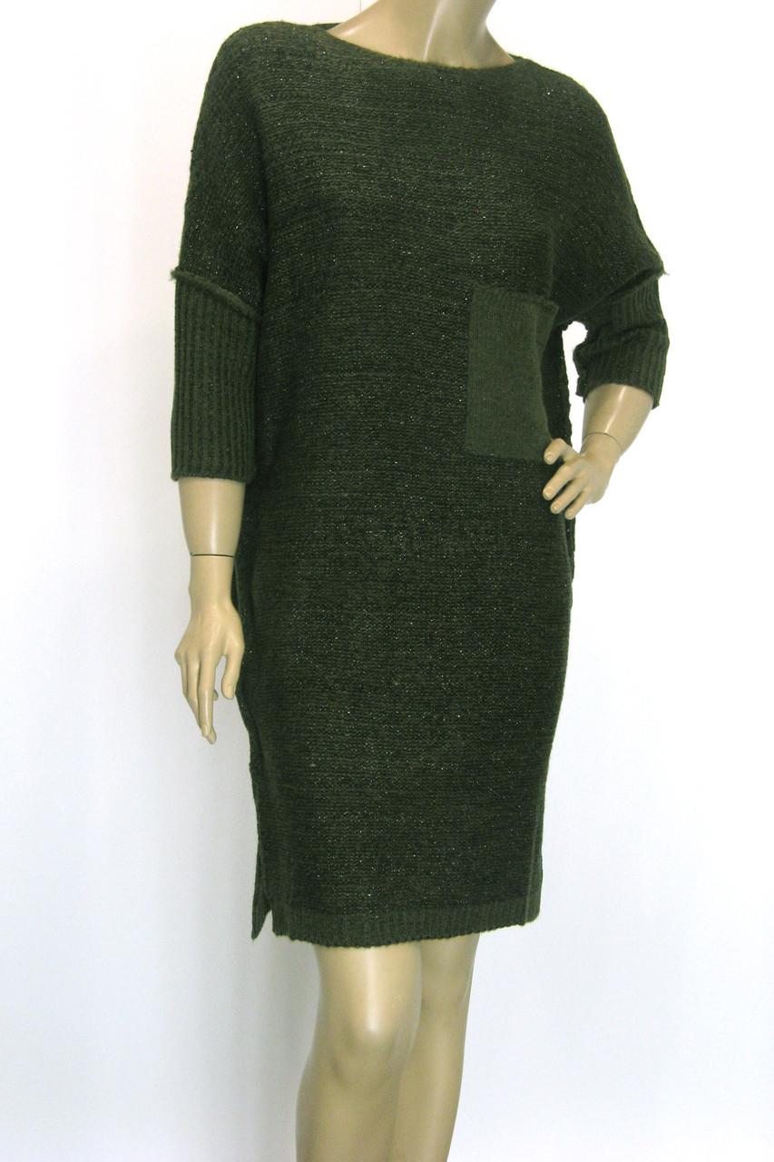 Вязане плаття з люрексом оверсайз зеленого кольору