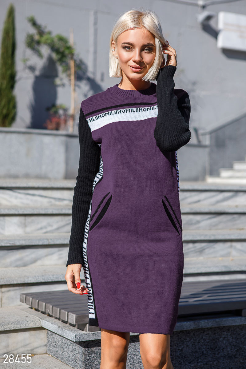Платье вязаное Лана 44-50 слива